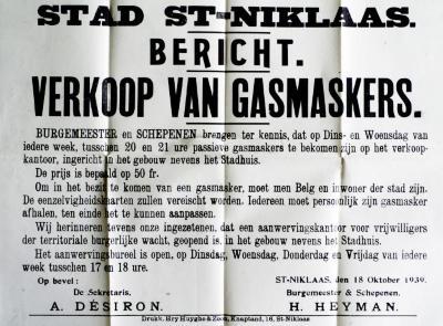 Bericht stadsbestuur over verkoop gasmaskers, 1939