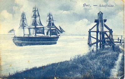Zeilschip voor de haven van Doel