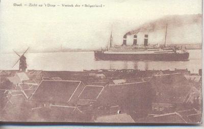 Zicht op Doel met schip 'Belgenland'