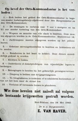 Verbodsbepalingen opgelegd door Duitse bezetter, 24 mei 1940