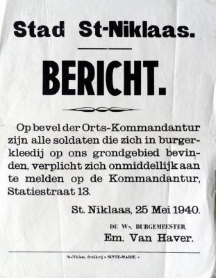 Bevel van Ortskommandant te Sint-Niklaas, 25 mei 1940