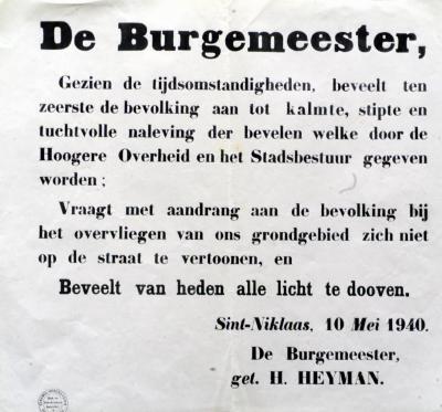 Mededeling aan de Sint-Niklase bevolking, 10 mei 1940