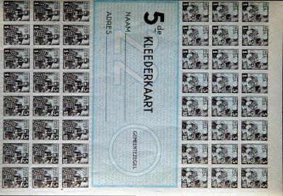 Ongebruikte kaart voor kledingzegels, Tweede Wereldoorlog