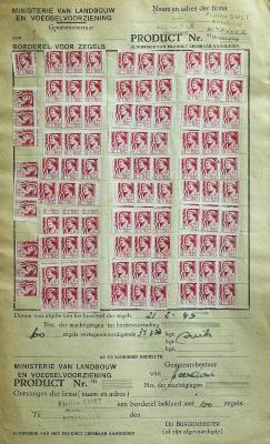 Rantsoenzegels suiker, 1945