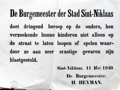 Oproep burgemeester Heyman aan ouders, 11 mei 1940