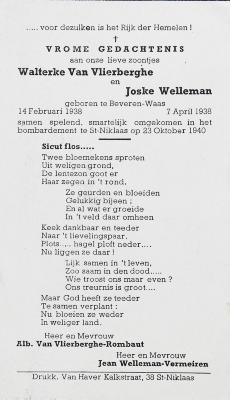Slachtoffers geallieerde bommen Sint-Niklaas, 23 oktober 1940