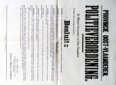 Provinciale politieverordening bij staat van beleg, 11 mei 1940