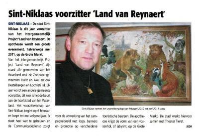 Sint-Niklaas voorzitter 'Land van Reynaert'