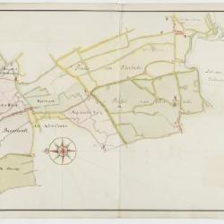 Figuratieve geaquarelleerde kaart van de kasseiwegen te Sint-Niklaas