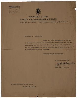 Brief van professor Lacquet van de KVAGB aan burgemeester Arthur Laureys van Verrebroek. 13 juni 1948