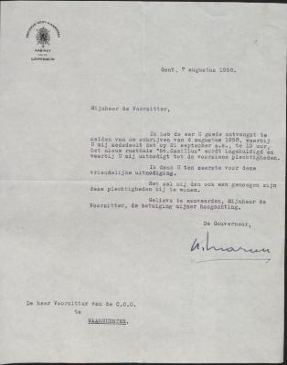 Bevestigingsbrief aanwezigheid Gouverneur