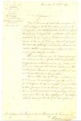 Schrijven vanwege de Arrondissementscommissaris aan de burgemeester en schepenen van Waasmunster