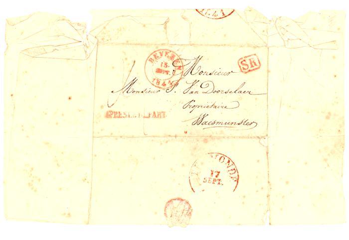Brief betreffende een schenking voor oprichting 'Opvanghuis', Waasmunster, 15/9/1841