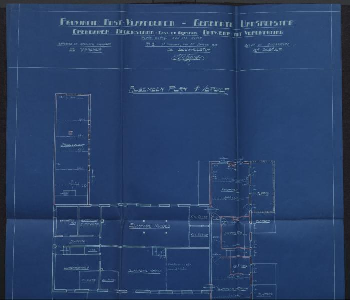 Plan van 1ste verdieping van de verbeteringswerken 'Gods- en Gasthuis'