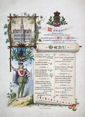 Menukaart inhuldiging nieuw stadhuis, 1 september 1878