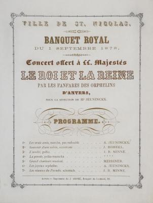 Concert tijdens koninklijk banket stadhuis, 1 september 1878