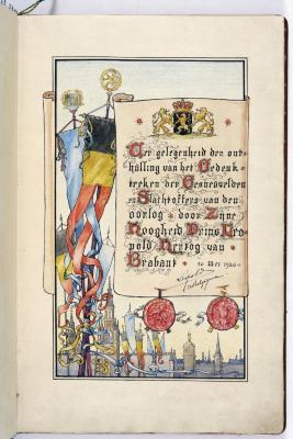 Bladzijde gulden boek over bezoek prins Leopold, 30 mei 1926