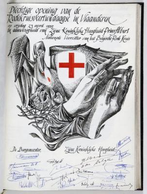 Bladzijde gulden boek Sint-Niklaas bezoek prins Albert, 23 april 1982