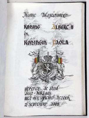 Bladzijde gulden boek Sint-Niklaas koninklijk bezoek, 2 september 2005