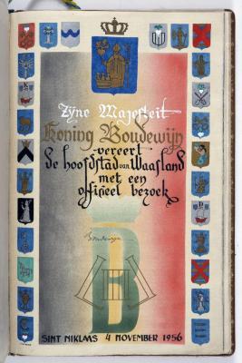 Bladzijde gulden boek Sint-Niklaas bezoek Boudewijn, 4 november 1956