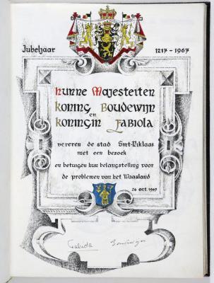 Bladzijde gulden boek Sint-Niklaas koninklijk bezoek, 26 oktober 1967