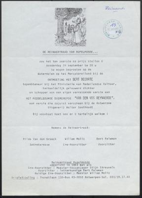 Uitnodiging Reinaertraad Rupelmonde