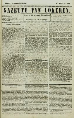 Gazette van Lokeren 21/09/1851