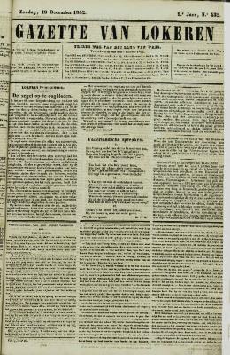 Gazette van Lokeren 19/12/1852