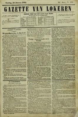 Gazette van Lokeren 15/01/1854