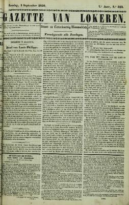 Gazette van Lokeren 01/09/1850