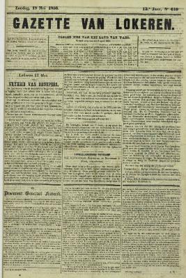 Gazette van Lokeren 18/05/1856