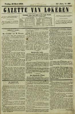 Gazette van Lokeren 19/03/1854