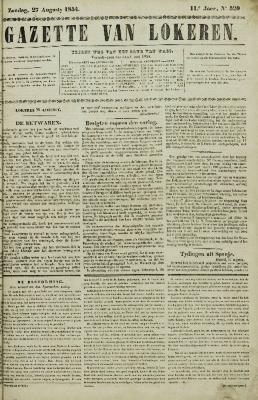 Gazette van Lokeren 27/08/1854