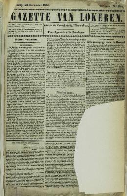 Gazette van Lokeren 29/12/1850