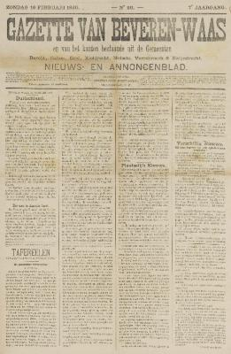 Gazette van Beveren-Waas 16/02/1890