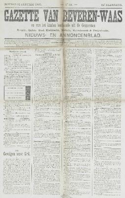 Gazette van Beveren-Waas 14/01/1906