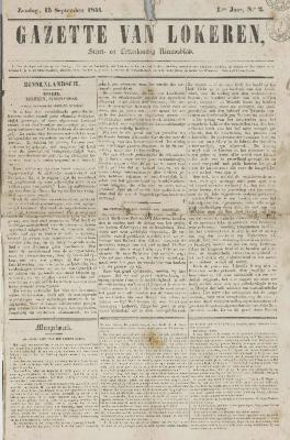 Gazette van Lokeren 15/09/1844