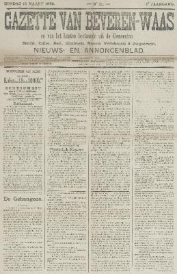 Gazette van Beveren-Waas 13/03/1892