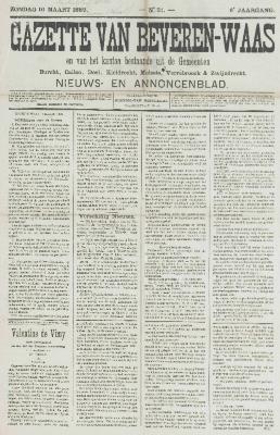 Gazette van Beveren-Waas 10/03/1889