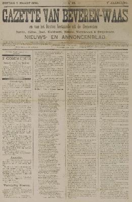 Gazette van Beveren-Waas 09/03/1890