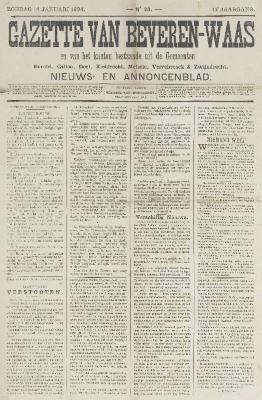 Gazette van Beveren-Waas 14/01/1894