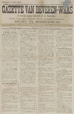 Gazette van Beveren-Waas 27/07/1890