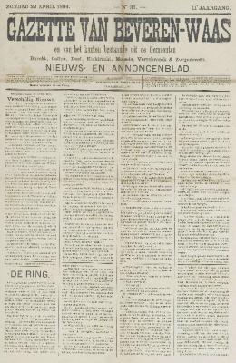 Gazette van Beveren-Waas 22/04/1894