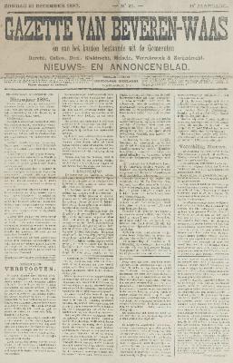 Gazette van Beveren-Waas 31/12/1893