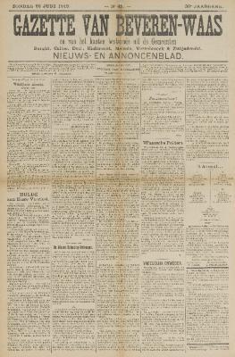 Gazette van Beveren-Waas 22/06/1913