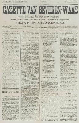 Gazette van Beveren-Waas 20/12/1891