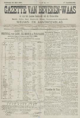 Gazette van Beveren-Waas 26/05/1889