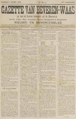 Gazette van Beveren-Waas 07/04/1895