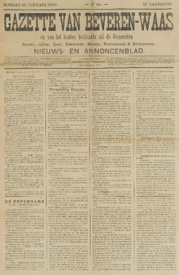 Gazette van Beveren-Waas 16/01/1898
