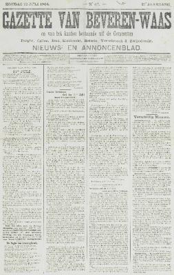 Gazette van Beveren-Waas 10/07/1904